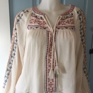 AEO Boho Embroidered Split Neck Top